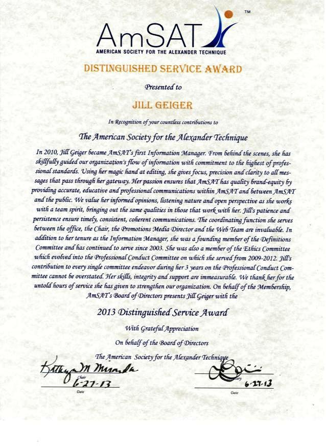 Distinguished Service Award 2013